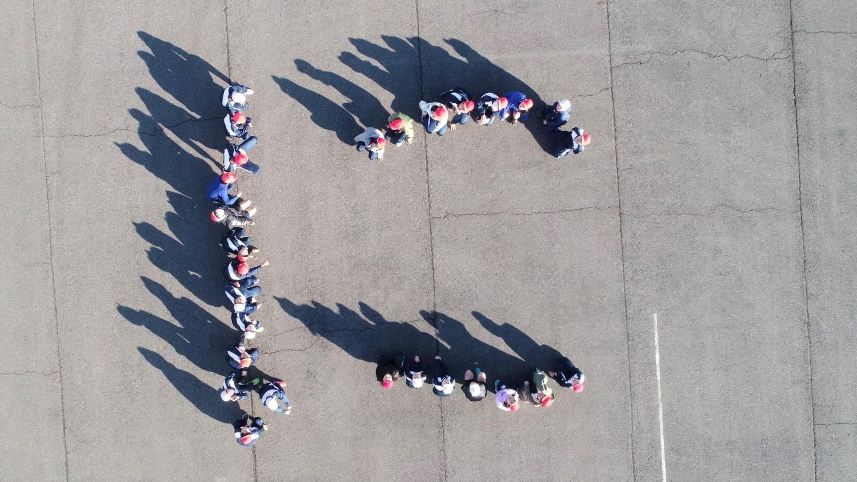 少年消防クラブによる防火標語人文字 | 筑西広域市町村圏事務組合